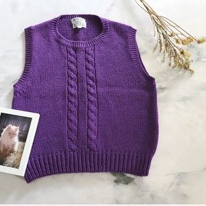 Vintage Cable Knit Sleeveless Sweater Vest Top
